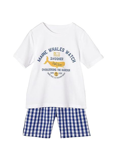 f082e2330 VERTBAUDET Pijama de dos tejidos con short niño AZUL OSCURO A CUADROS 6A   Amazon.es  Ropa y accesorios