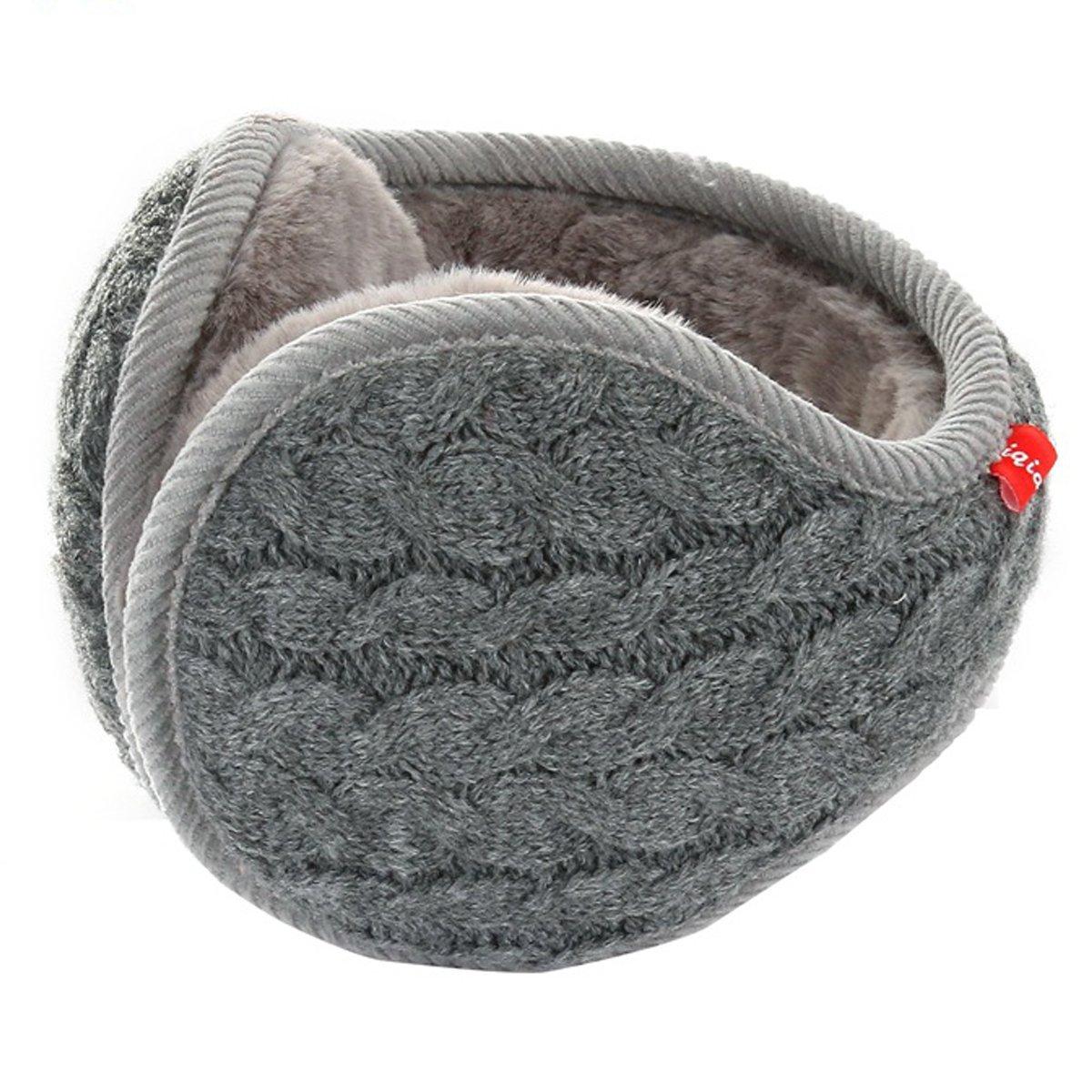 SamiTime Unisex Knit Cashmere Winter Outdoor Earmuffs with Fur Ear warmer, Adjustable Wrap,Pure Color EZ-001-Black