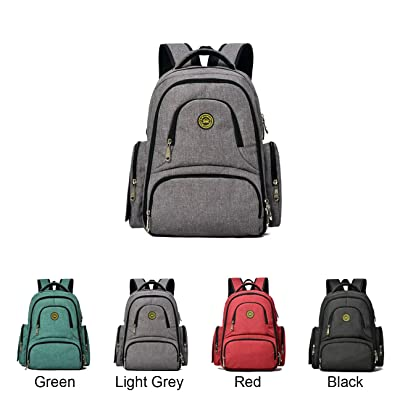 Queenie - Baby Waterproof Polyester Cotton Diaper Backpack Multi- function Travel Backpack Nappy Bag Travel Organizer For Men & Women (QM1490-1 Light Grey)