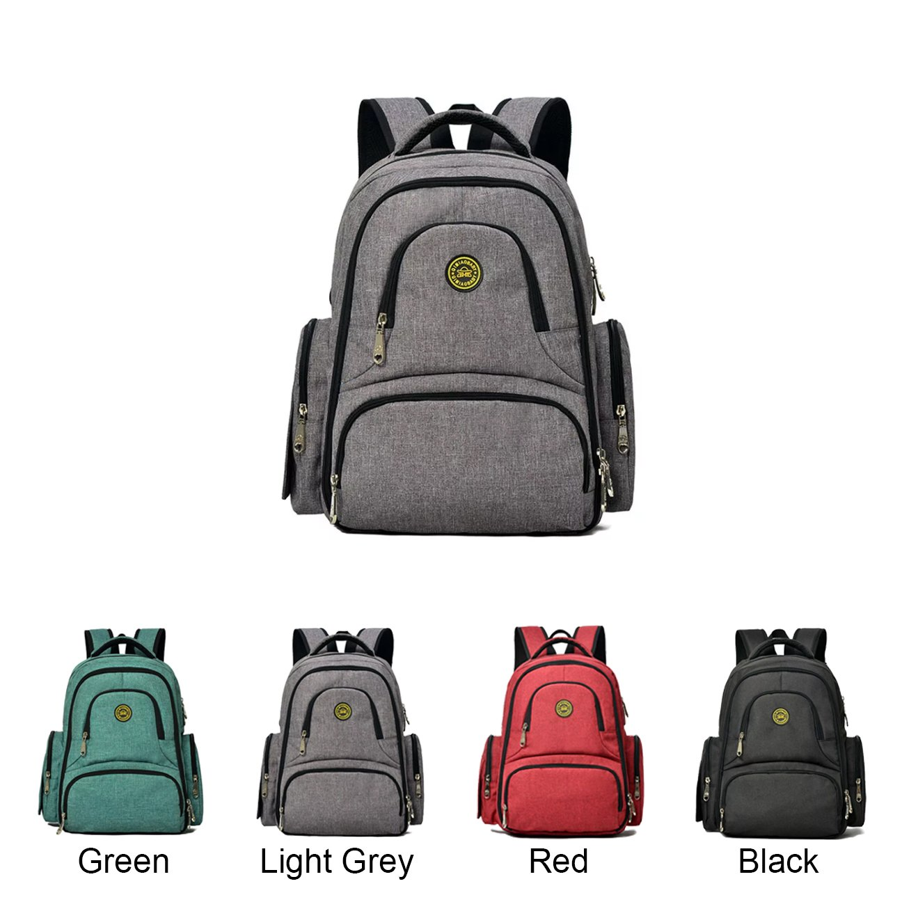 Queenie - Baby Waterproof Polyester Cotton Diaper Backpack Multi- function Travel Backpack Nappy Bag Travel Organizer For Men & Women (QM1490-1 Light Grey) by Queenie