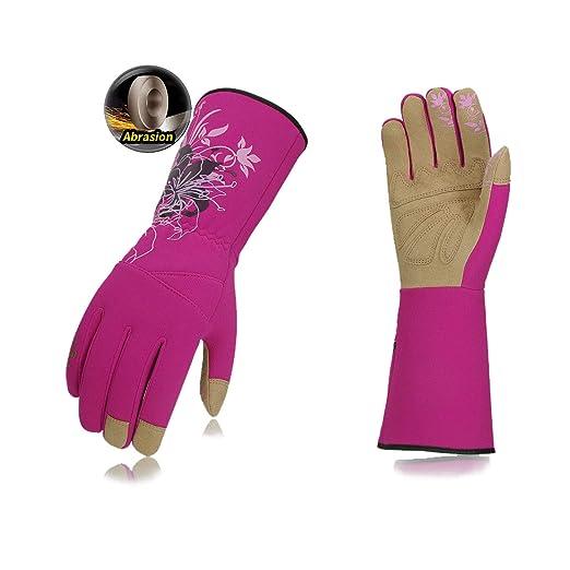 Vgo Glove guante jardín guante de jardín guante de jardinería para mujer, Guantes de jardín para escamondar de cuero sintéticas con mangas largas para mujer (1Par, Violeta, 7/S, SL7445): Amazon.es: Industria, empresas