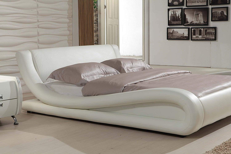Amazon.com: Dona piel sintética de color negro cama moderna ...