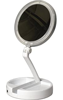 portable vanity mirror with lights. Floxite 7504 12l 12x LED Lighted Folding Vanity and Travel Mirror  White Frosted Amazon com Bright Leds Foldaway Portable