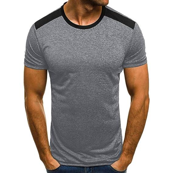 GONKOMA - Camiseta de Manga Corta para Hombre, Cuello Redondo ...