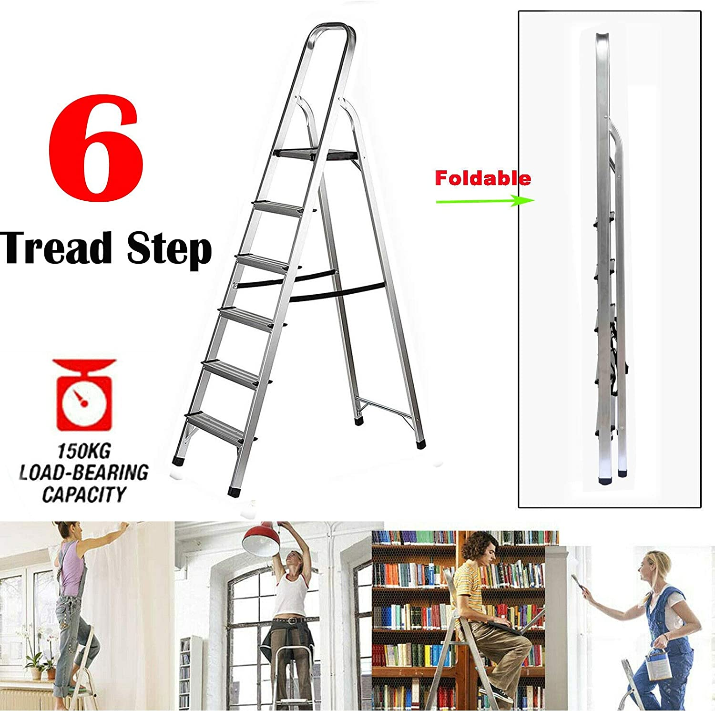 Escalera Plegable de 6 peldaños Escaleras de Aluminio livianas Escalera de Seguridad Hogar Cocina Oficina Jardín Escalera Antideslizante EN131 Estándar: Amazon.es: Deportes y aire libre