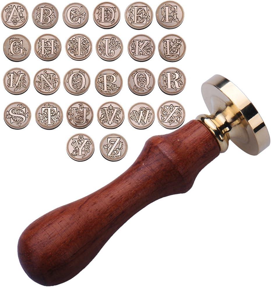 timbro in ottone stile: vintage Type E e lettere dell/'alfabeto Sigillo per ceralacca con manico in palissandro Ming