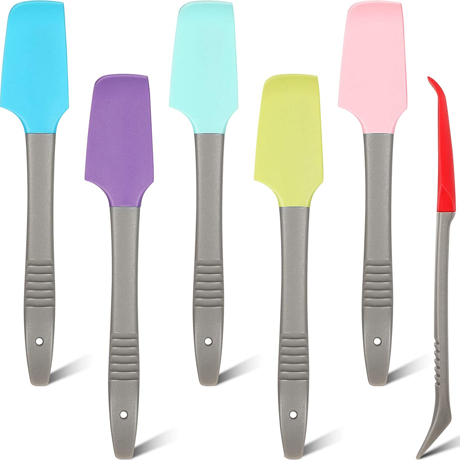 Mini Silicone Spatula Non-Stick Small Rubber Jar Spatula Tiny Cooking Scraper Pet Food Can Scoop for Baking Frosting Mixing (6 Colors, 6)