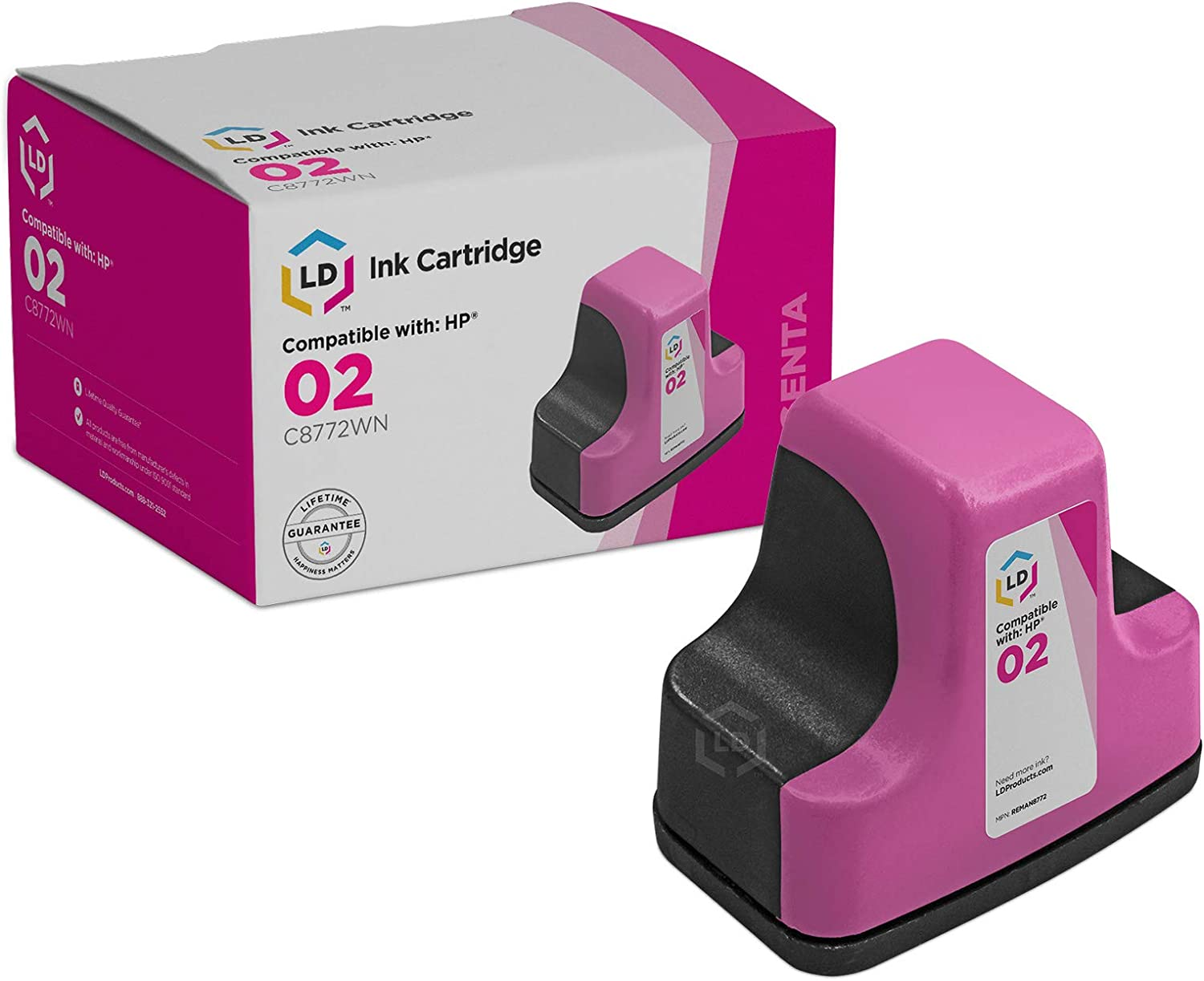 LD Remanufactured Ink Cartridge Replacement for HP 02 C8772WN (Magenta)