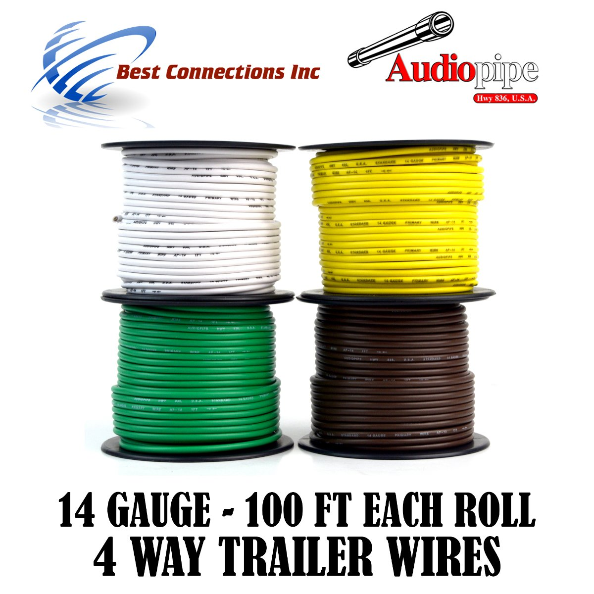 Amazon.com: Trailer Light Cable Wiring For Harness 100ft spools 14 Gauge 4  Wire 4 colors: Automotive