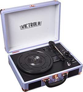 Victrola Vintage 3-Speed Bluetooth Portable Suitcase Record Player with Built-in Speakers | Upgraded Turntable Audio Sound| Includes Extra Stylus | Lavender (VSC-550BT-LG)