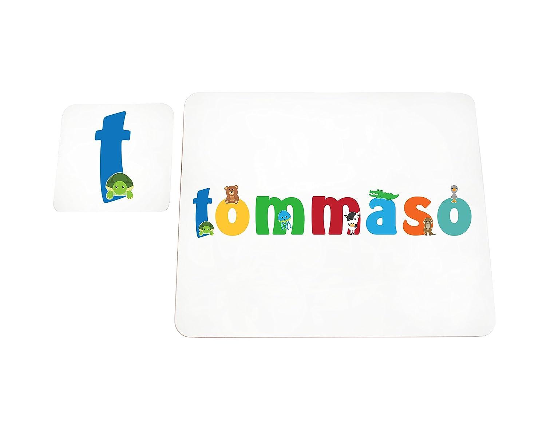 Little Helper LHV-TOMMASO-COASTERANDPLACEMAT-15IT Sottobicchieri e Tovagliette con Finitura Lucida, Personalizzati Ragazzi Nome Tommaso, Multicolore, 21 x 30 x 2 cm