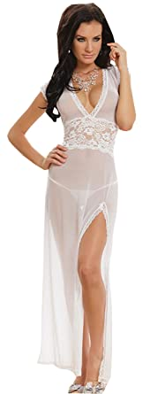 CZIXUN Sexy Lingerie Transparent Dos Nu Chemise de Nuit Femme Longue (Blanc) 9f521d6b70c