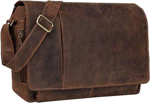 STILORD 'Elias' Bolso de Mensajero o Bandolera de Piel Vintage para Hombre y Mujer Bolsa de Hombro o maletín para portátil de 15.6'' de Cuero