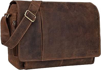 STILORD Vintage Bolso Bandolera de Piel para Hombre Mujer Bolso para portátil 15,6 Pulgadas Grande Bolso de Cuero auténtico de búfalo para Universidad Trabajo