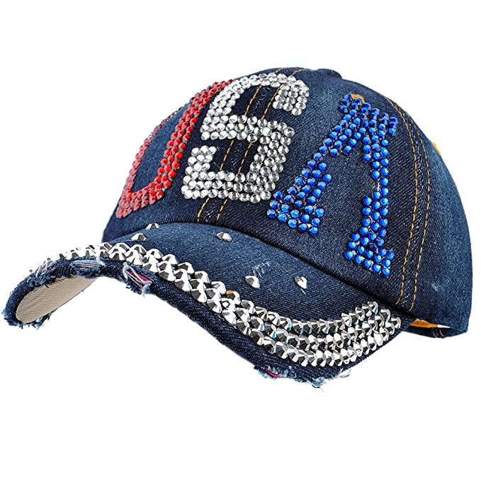 a6a823e7037801 Image Unavailable. Image not available for. Color: Elonmo Crown USA Design  Cotton Womens Baseball Cap Rhinestone Bling Hats ...