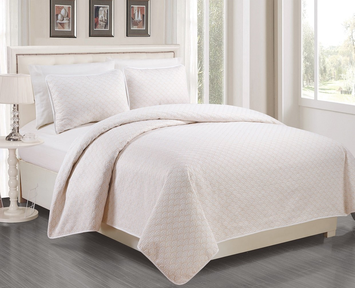 EverRouge 0027368WK Malibu Oversized Quilted 3Piece Bedspread Set, White/Pumpkin, King Landmark Tex Inc.