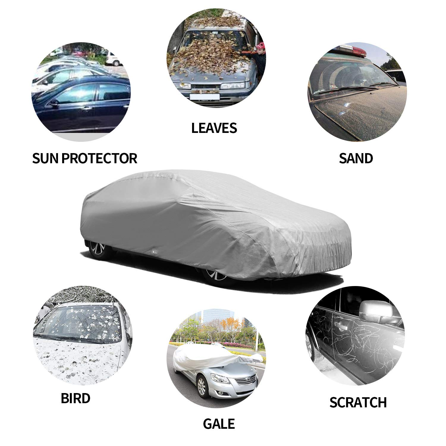 Sedan Cover for Indoor Dustproof Windproof 185 3 Layer Composite Universal Fit for Car Covers Easy to Use