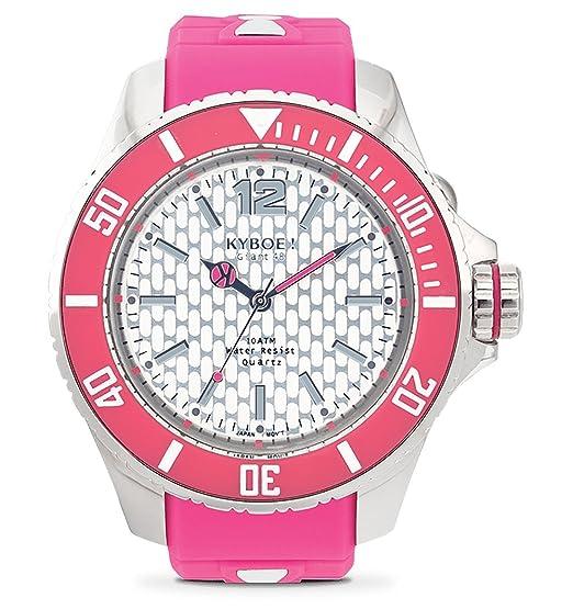 Kyboe! Reloj analógico de cuarzo blanco de goma rosa FS-003
