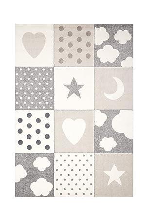 Kinderteppich Mädchen Spielteppich Teppich Kinderzimmer Babyteppich Motiv  Sterne Mond Herz Farbe Grau Beige Creme verschiedene Größen (80 x 150 cm)