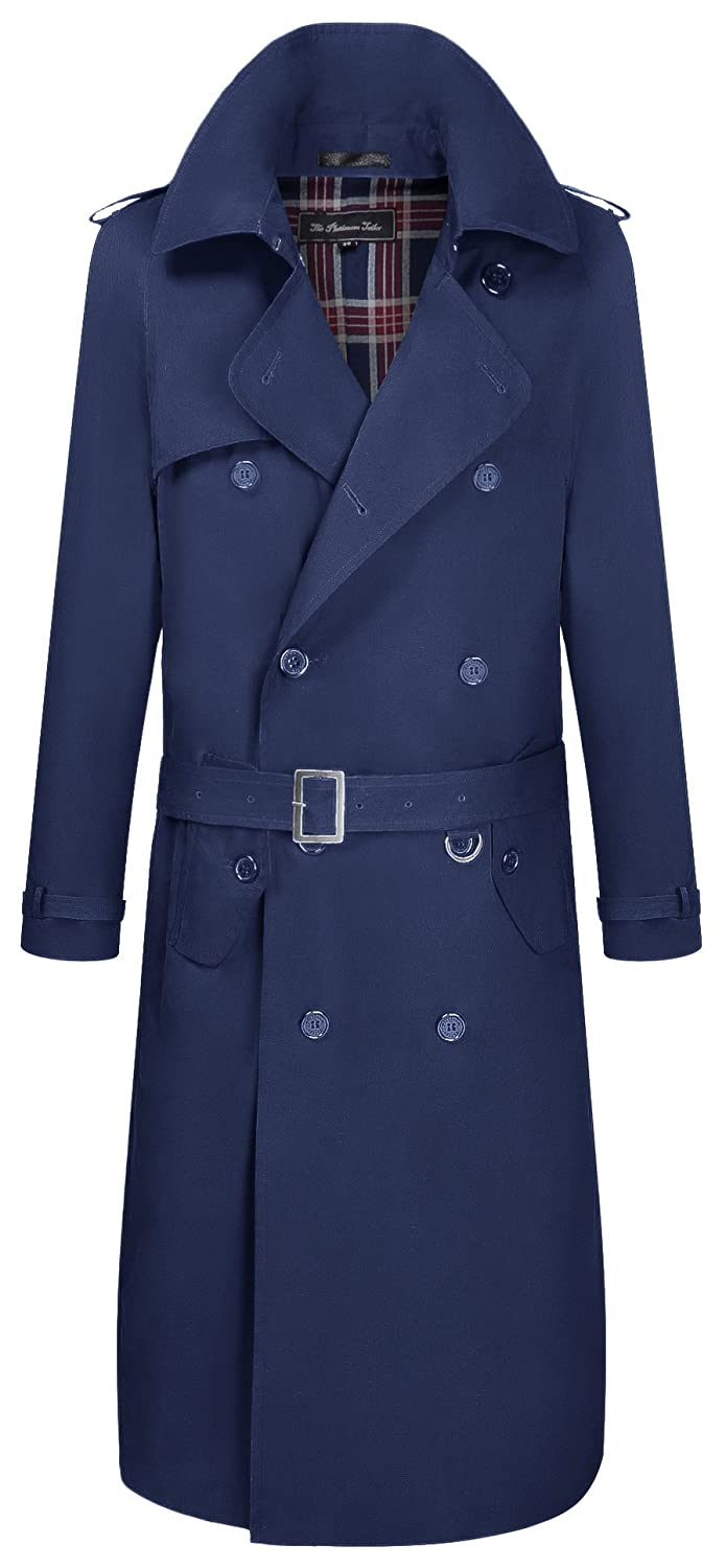 Mens Navy Blue Traditional Double Breasted Long Trench Coat