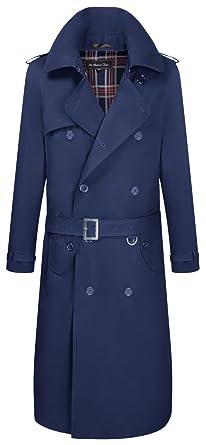 Dettagli su Uomo Tradizionale Doppio Petto lungo Cappotto Trench Pioggia Cotone Militare Mac