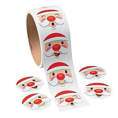 Fun Express - Santa Face Stickers for Christmas - Stationery - Stickers - Stickers - Roll - Christmas - 100 Pieces: Toys & Games