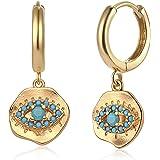 Fettero Evil Eye Earrings Gold Huggie Hoop Turquoise Inlay Irregular Coin Embossed Dangle Drop 14K Gold Plated Dainty…