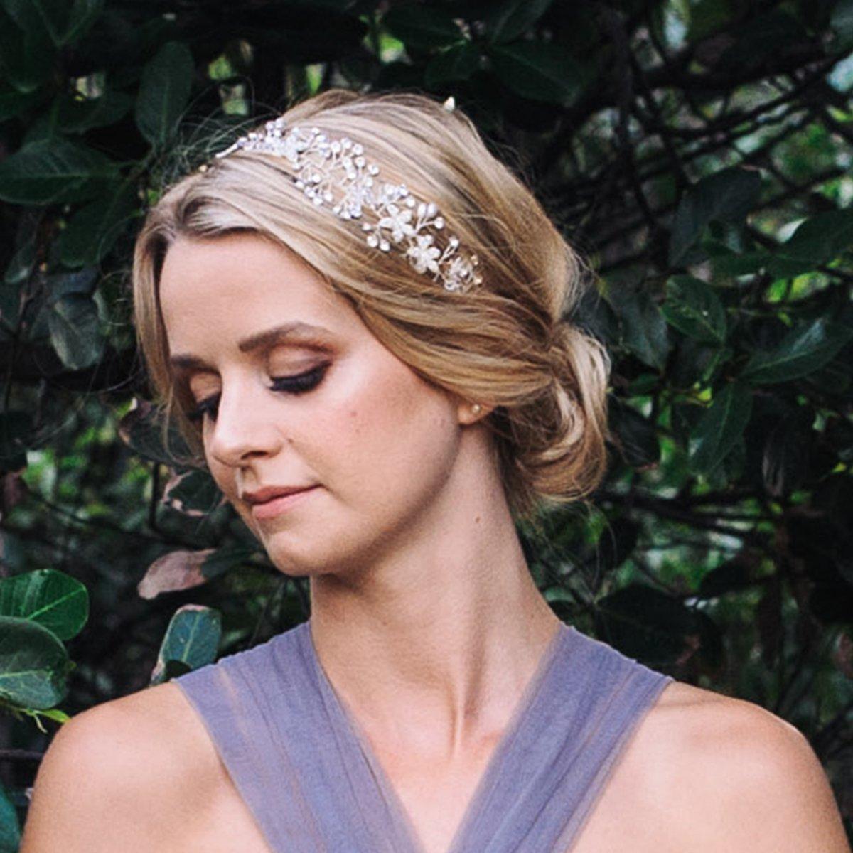 SWEETV Bohemian Headpiece Crystal Pearl Bridal Hair Vine Flower Halo Wedding Headband Tiara Silver Flower Girl Hair Accessories