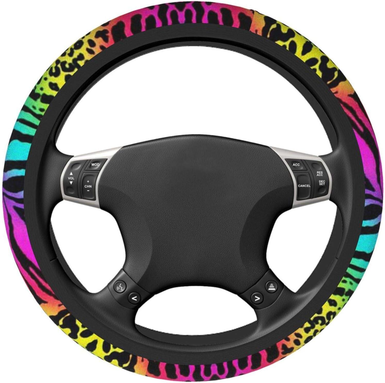 R/ésistant /à la chaleur Anti-d/érapant Housse de volant pour femme arc-en-ciel l/éopard Accessoire auto Ajustement universel