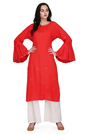 367f535d20 Pret A Porter Coral Colored Rayon Designer Kurti With Palazzo Pants  (Stitched): Amazon.in: Clothing & Accessories