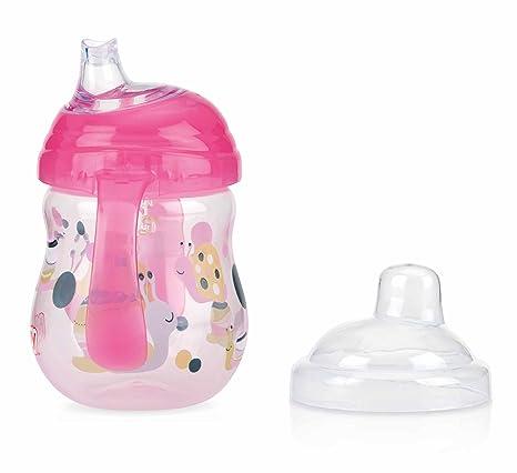 Nuby - Vaso con Tapa Antiderrame y Asas de Agarre - 270 ml, Color Rosa