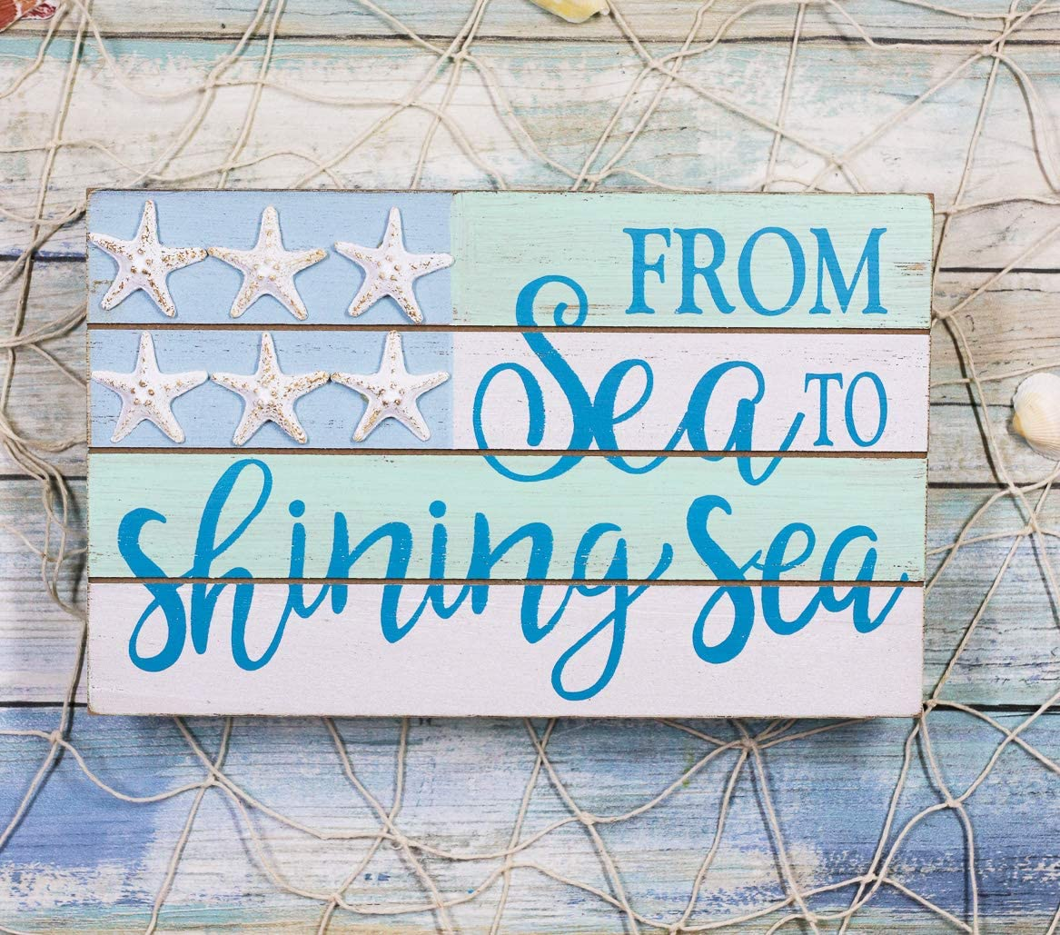 Ebros Nautical From Sea To Shining Sea Wall Decor Sign Starfish Stars And Stripes Slatted Banner Flag Decorative Plaque 9.5