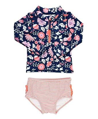 a30d9cba75980 RuffleButts Baby/Toddler Girls Botanical Beach Long Sleeve Zipper Rash  Guard Bikini - 12-