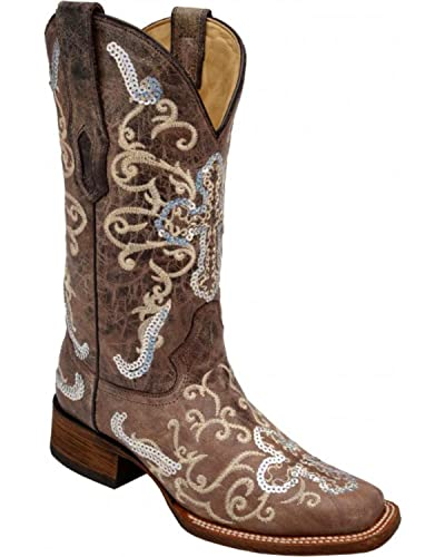 8afdf04595c CORRAL Women's Silver Sequin Cross Cowgirl Boot Wide Square Toe