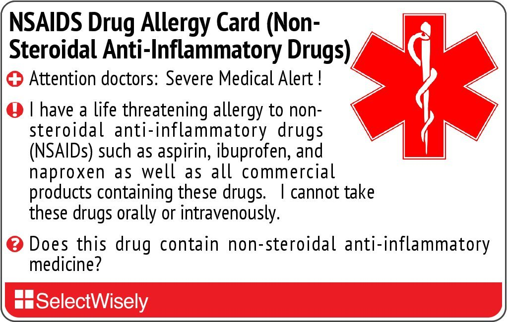 NSAIDS Drug Allergy (Non-Steroidal Anti-Inflammatory Drugs) Translation Card - Translated in Italian or any of 5 languages by SelectWisely (Image #1)