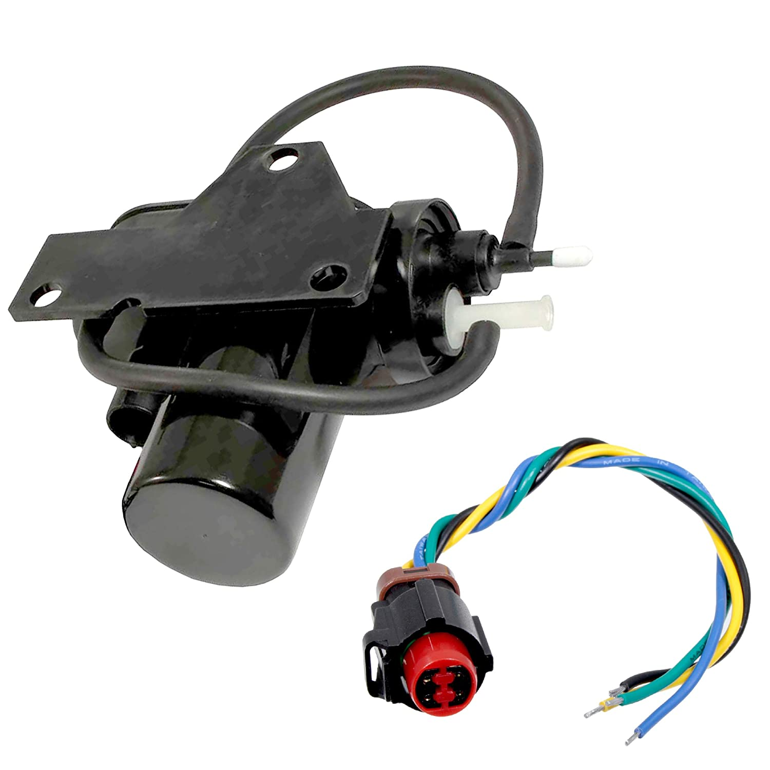 APDTY 015325-Kit Electric Vacuum Pump w/Wiring Harness Pigtail Connector (Can Be Used In Custom Uses To Add Vacuum For HVAC, Cruise Control, 4WD; Factory On Select Dodge Cummins or Ford Diesel)