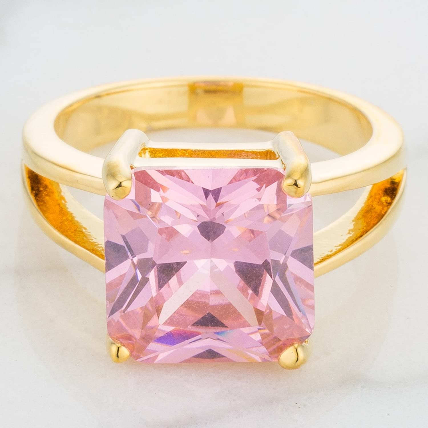 Amazon.com: 18k Gold Plated Princess Cut Pink Ice Color Cubic ...