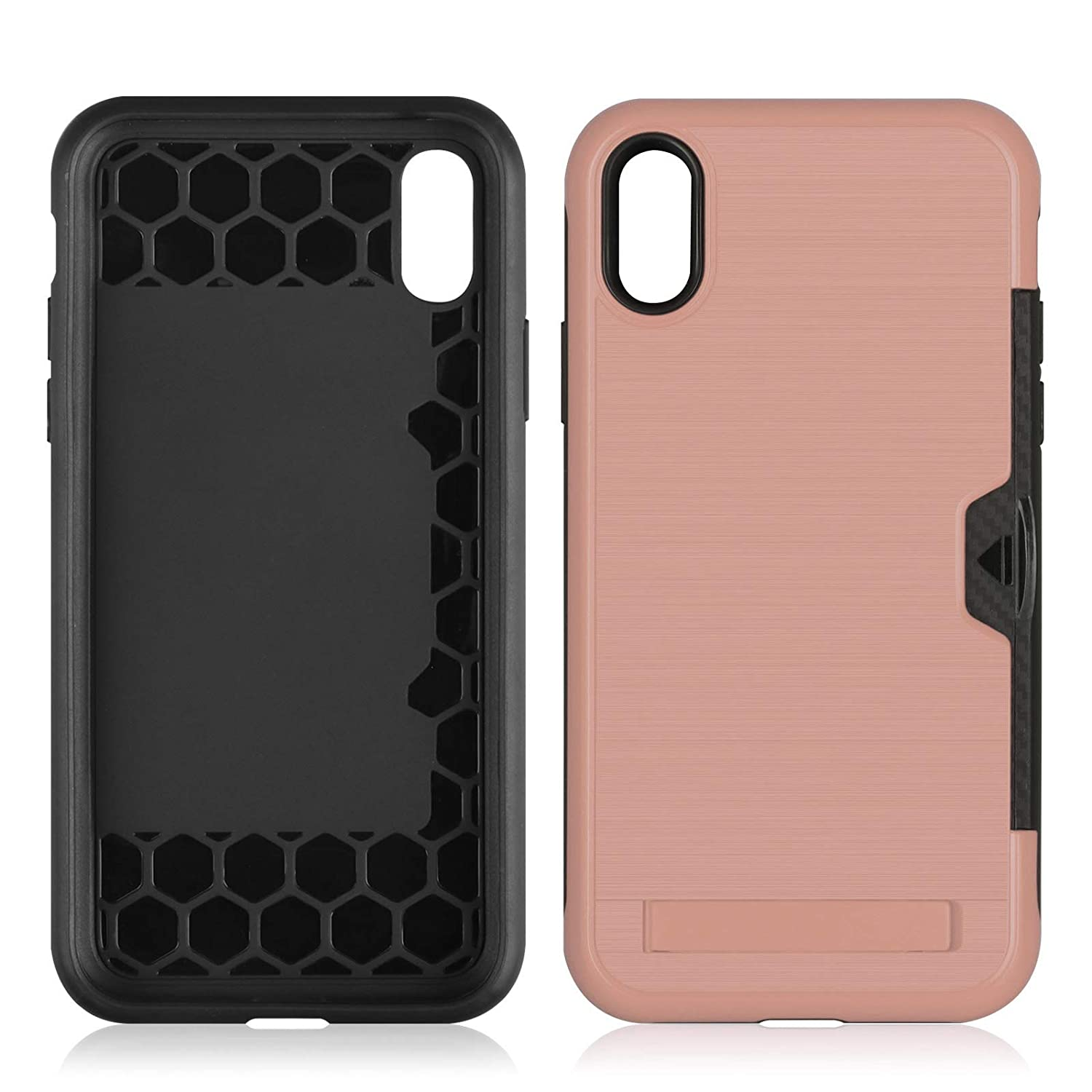 iPhone Xs Max Case,DAMONDY Kickstand Ultra Thin Dual Layer Shock Protective Rugged Armor Hybrid PC+Soft TPU Heavy Duty Protection Card Slot Holder Cover Case for iPhone Xs Max 6.5 inch-Silver