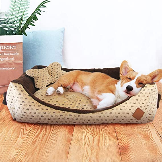 Cama Perro Grande Cuadradas Sofá Cómodo Cojin Perro Invierno Cesta Irrompible para Mascotas Gatos Perros Medianos, Marrón: Amazon.es: Productos para ...