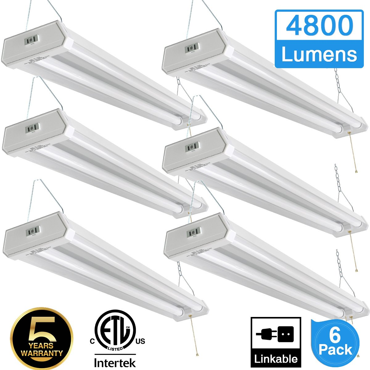 Linkable LED Shop light for garage, 42W 4800lm 4FT(6pk), 5000K Daylight White, With Pull Chain (ON/OFF) cETLus Listed, 5-Year-Warranty, 5000K (6PK)