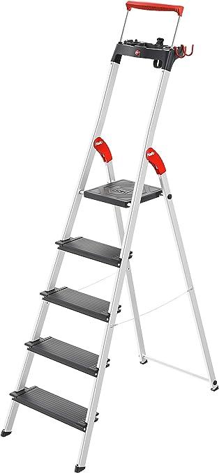 Escalera de aluminio de seguridad Hailo L100 TopLine con bandeja multifunción, asa de seguridad y bloqueo de plataforma ofrece seguridad en formato XXL: 130 mm escalones extra profundos, 8050-507: Amazon.es: Bricolaje y