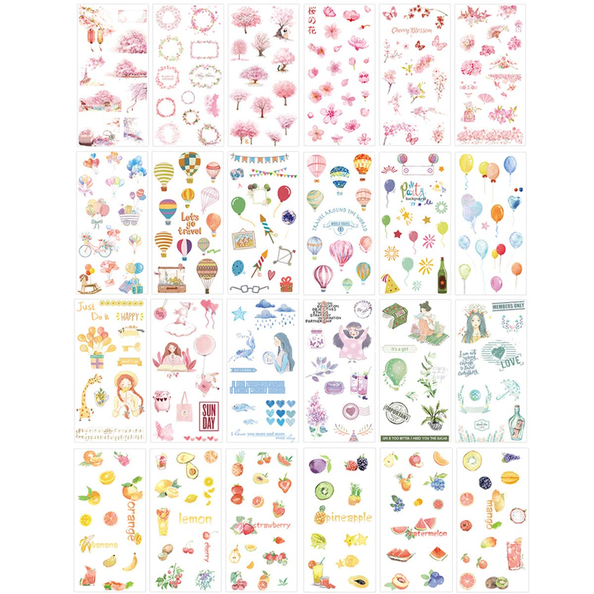 Cute Stationery Sticker Set (Assorted 24 Sheets) Flower Balloon Kawaii Girl Food Bottle Drink Snack Sticker Scrapbooking Travel Journal Diary Book Album Decorative Label Office Supplies