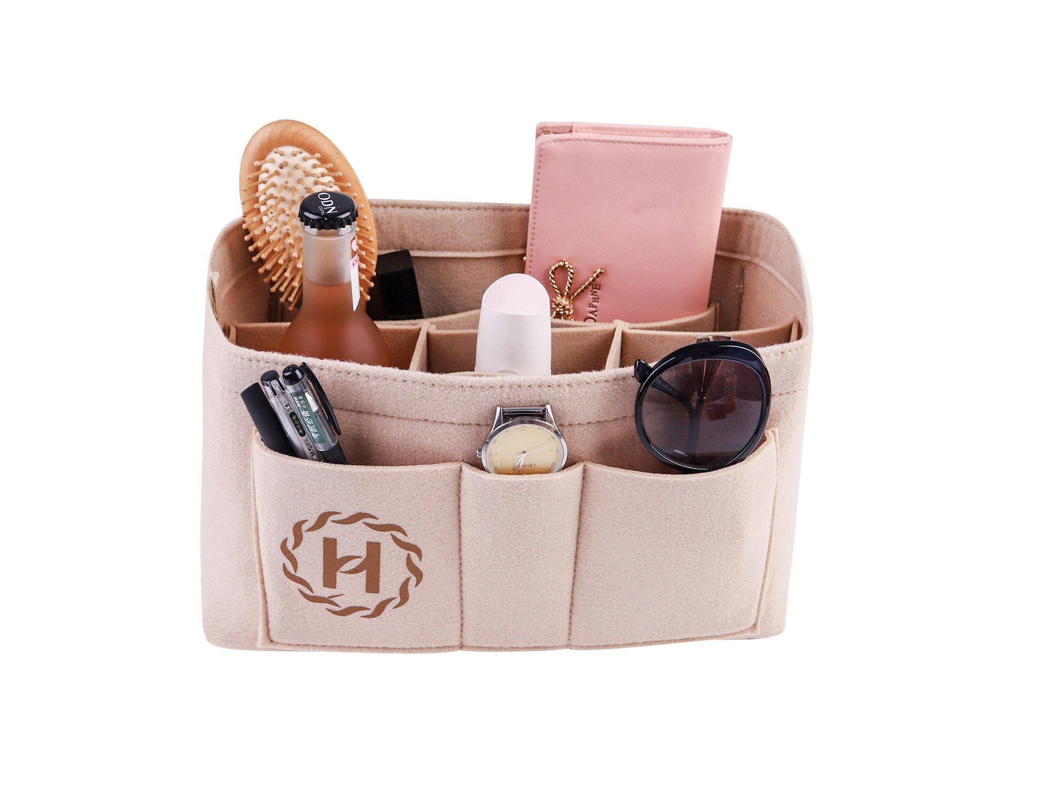 Insert Bag Organizer Bag In Bag For Handbag Purse Organizer (M, beige) by haisai
