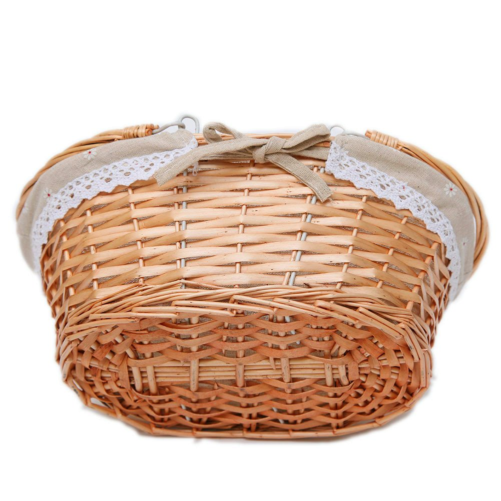 Medium Wicker Basket Rectangle Woven Willow Basket with Double Drop Down Handles and Removable Linen Lining Gift Picnic Basket TM Oypeip Nature