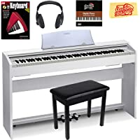 Casio Privia PX-770 Digital Piano - White Bundle with Furniture Bench, Instructional Book, Austin Bazaar Instructional DVD, and Polishing Cloth