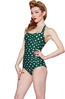 product image for Esther Williams One Piece Halter Sheath Swimsuit Green White Polka Dot Size 14