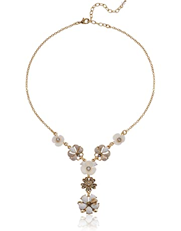 c5148b33b Napier Women's Gold/White Flower Y Necklace