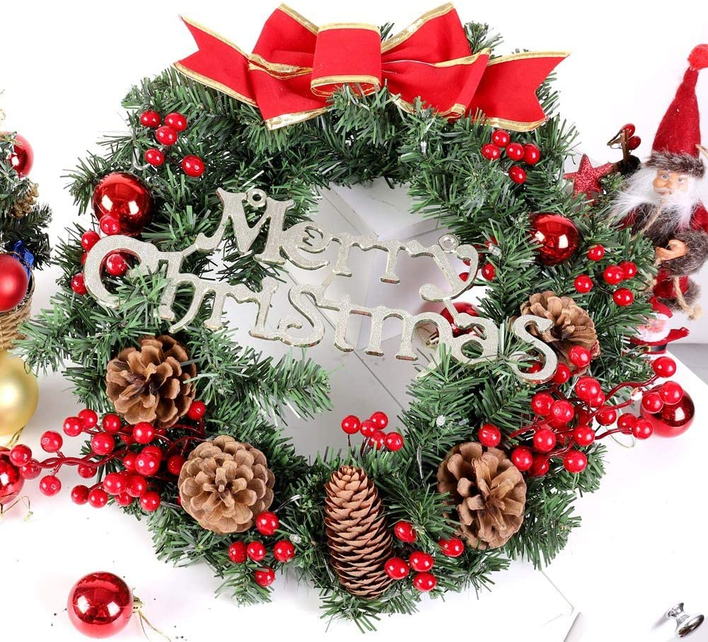 POPVCLY Christmas Garland with Lights Outdoor or Indoor Battery Operated with Mixed Decorations and LED Garland String Lights Garland for Fireplace Mantel Decor Diameter:30cm/11.8in, 40cm/15.7in