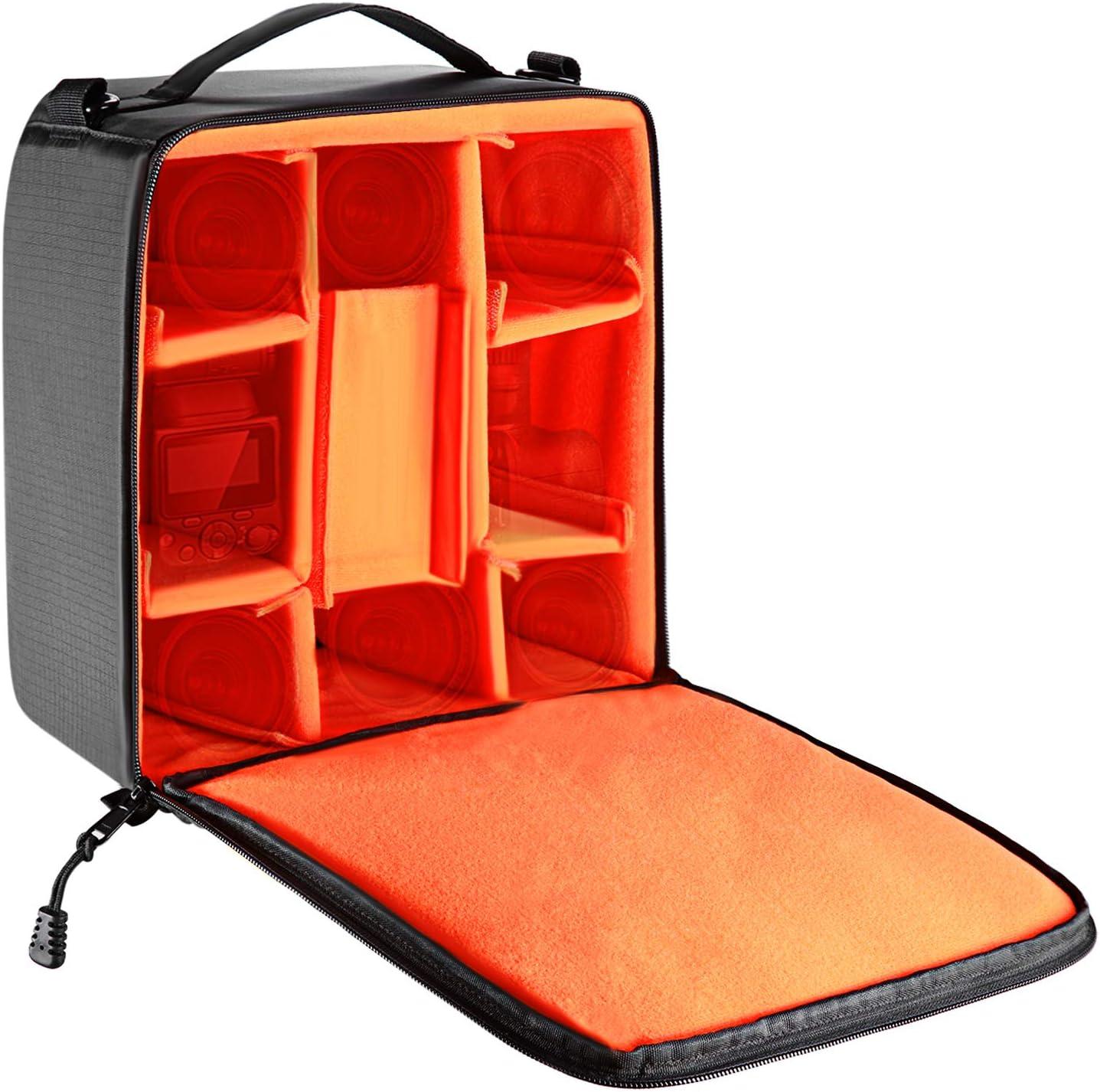 Neewer® Impermeable A prueba de golpes Flexible Cámara partición acolchado bolsa para SLR DSLR inserte protección asa superior bolso bandolera para cámaras sin espejo y lentes, luz de flash, radios di