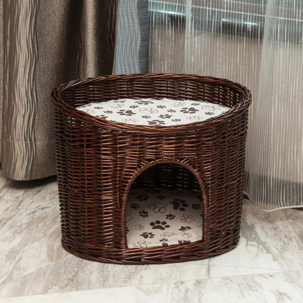 BROWN M BROWN M LF-pet supplies Rattan Pet Bed Small Dog House Cat Litter Four Seasons Universal Removable And Washable (color   BROWN, Size   M)